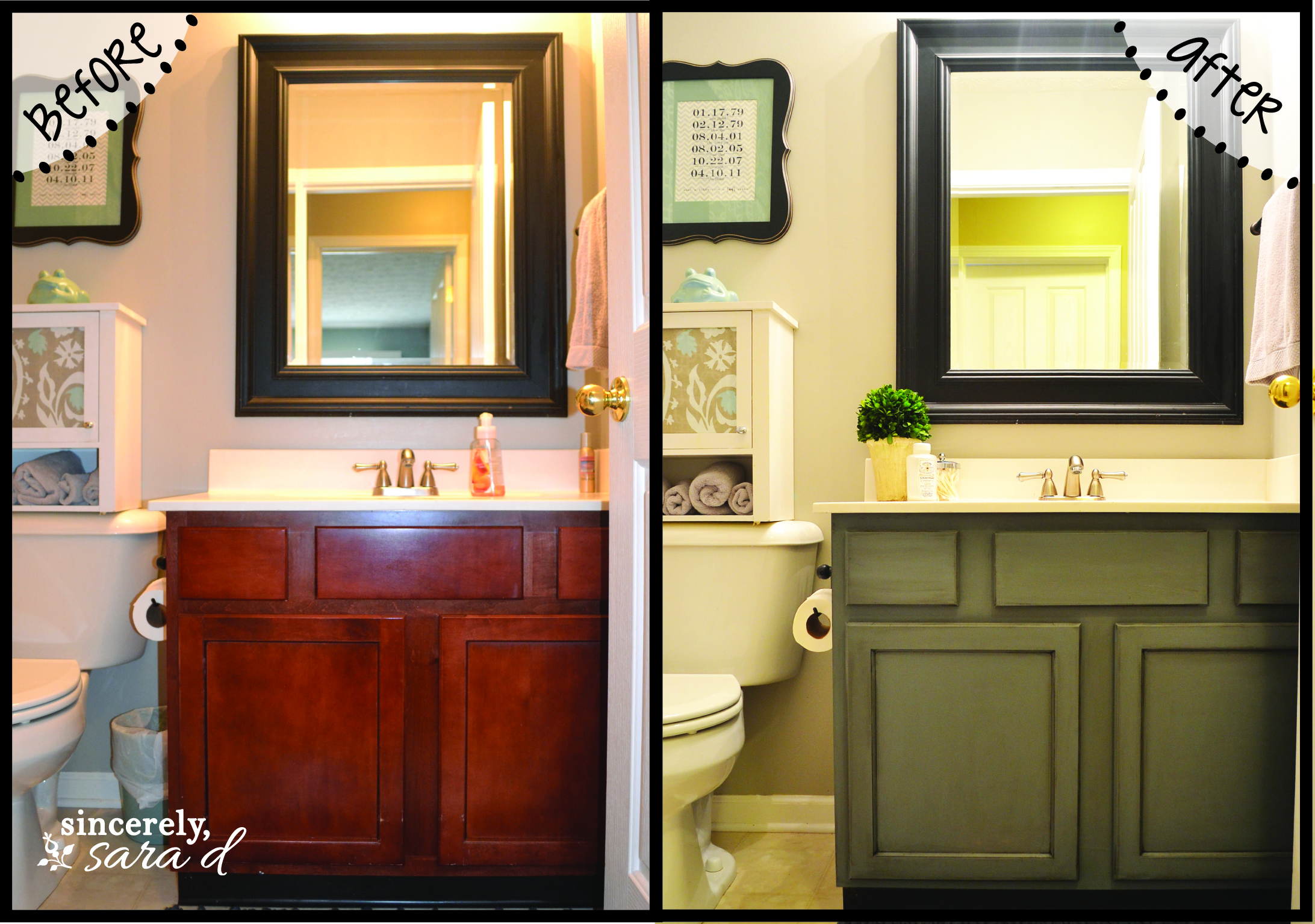 painting bathroom cabinets - Bathroom Cabinets Before And After